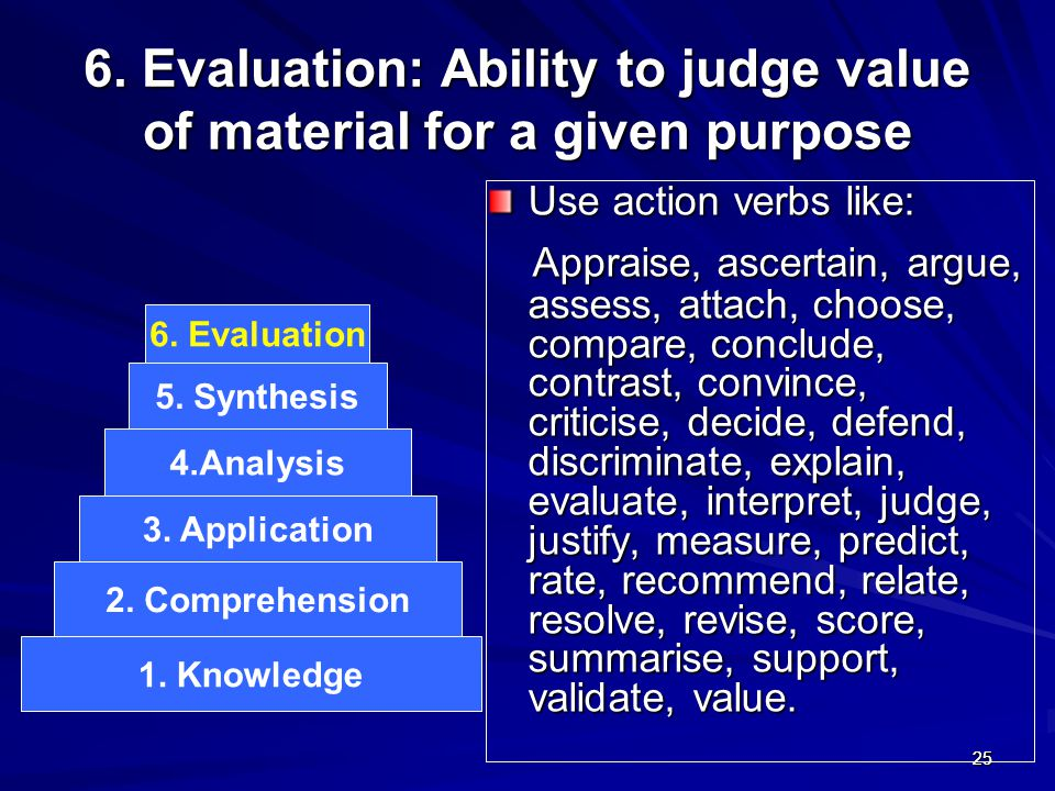 2525 6. Evaluation: Ability to judge value of material for a given purpose Use action verbs like: Appraise, ascertain, argue, assess, attach, choose,