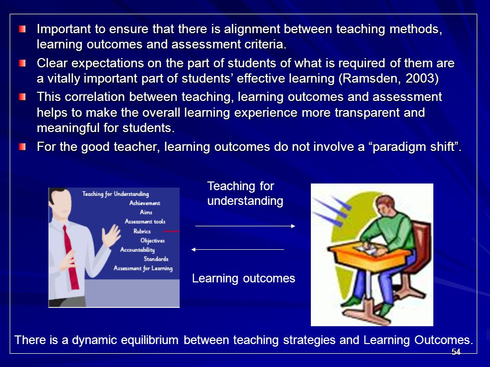 545454 Important to ensure that there is alignment between teaching methods, learning outcomes and assessment criteria. Clear expectations on the part