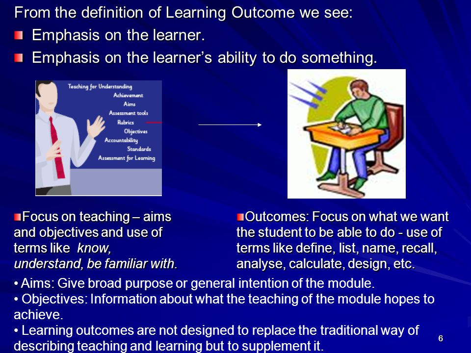 47 Assessment of Learning Outcomes Having designed modules and programmes in terms of learning outcomes, we must now find out if our students have achieved these intended learning outcomes.