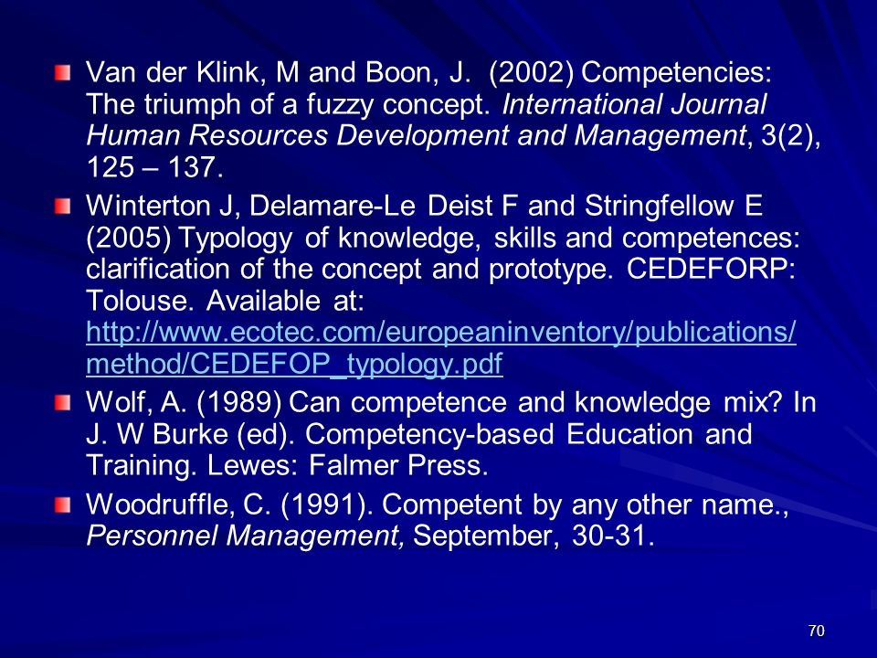 70 Van der Klink, M and Boon, J. (2002) Competencies: The triumph of a fuzzy concept. International Journal Human Resources Development and Management