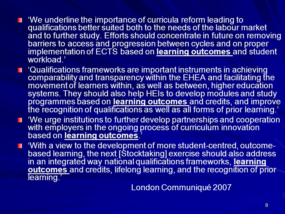 59 Linking Learning Outcomes, Teaching and Learning Activities and Assessment Learning OutcomesTeaching and Learning Activities Assessment Cognitive (Demonstrate: Knowledge, Comprehension, Application, Analysis, Synthesis, Evaluation) Affective (Integration of beliefs, ideas and attitudes) Psychomotor (Acquisition of physical skills) Lectures Tutorials Discussions Laboratory work Clinical work Group work Seminar Peer group presentation etc.