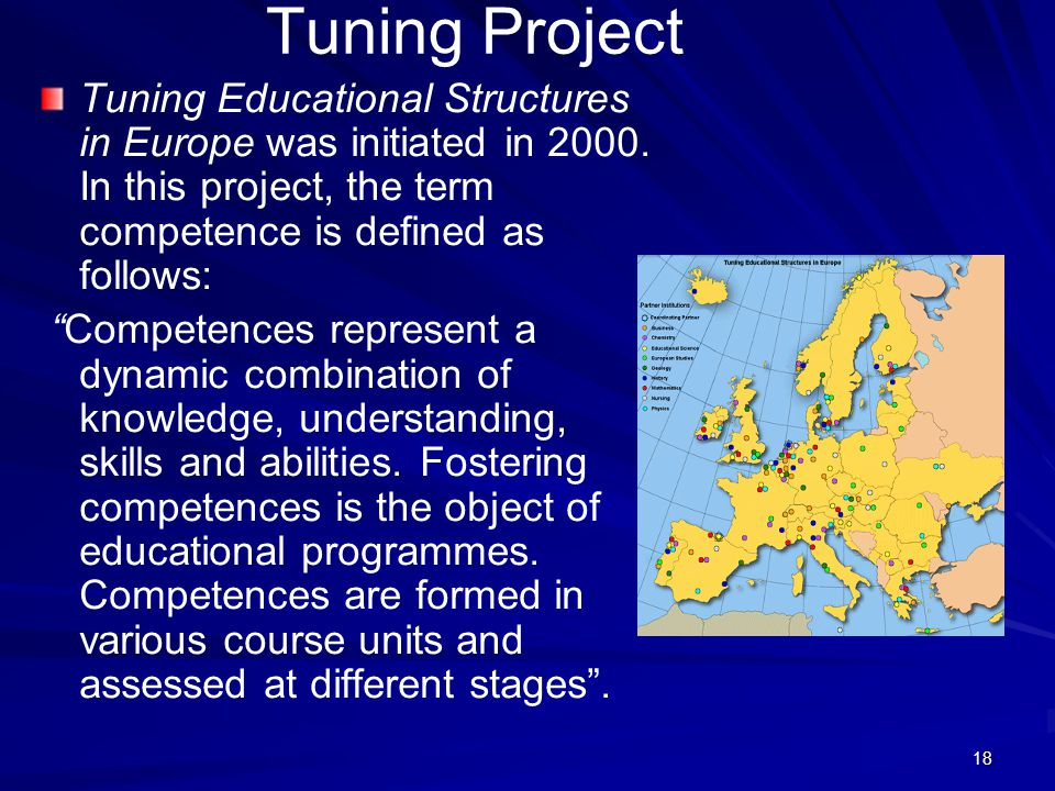 "18 Tuning Project Tuning Educational Structures in Europe was initiated in 2000. In this project, the term competence is defined as follows: ""Competen"