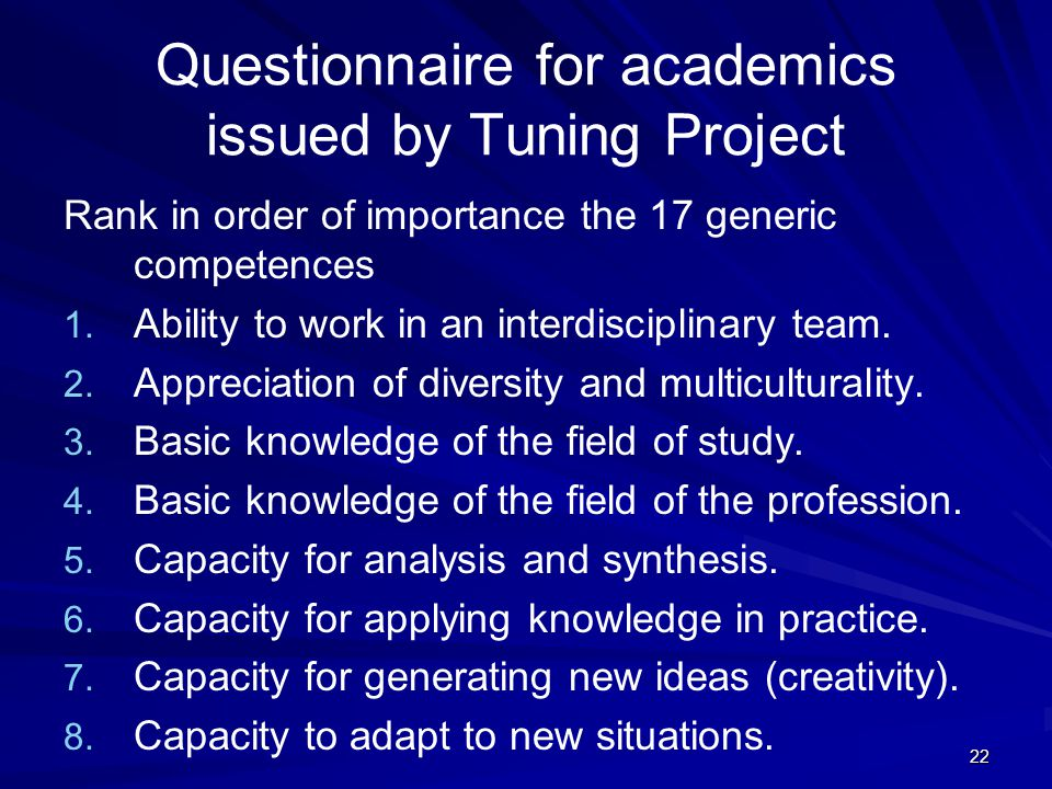22 Questionnaire for academics issued by Tuning Project Rank in order of importance the 17 generic competences 1. 1. Ability to work in an interdiscip