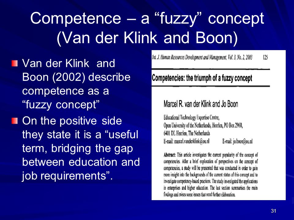 "31 Competence – a ""fuzzy"" concept (Van der Klink and Boon) Van der Klink and Boon (2002) describe competence as a ""fuzzy concept"" On the positive side"