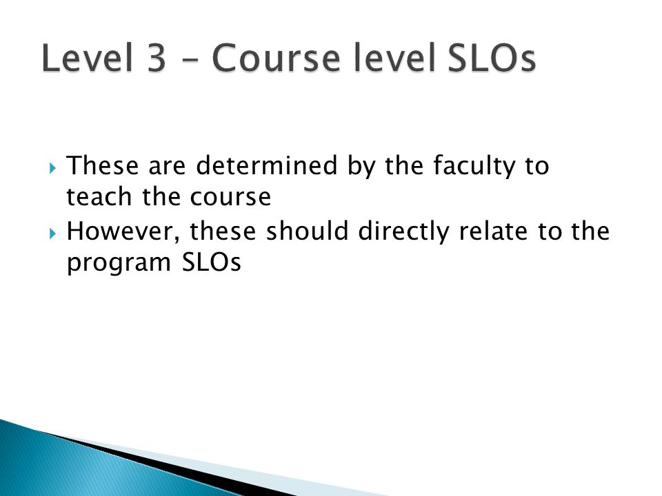  These are determined by the faculty to teach the course  However, these should directly relate to the program SLOs