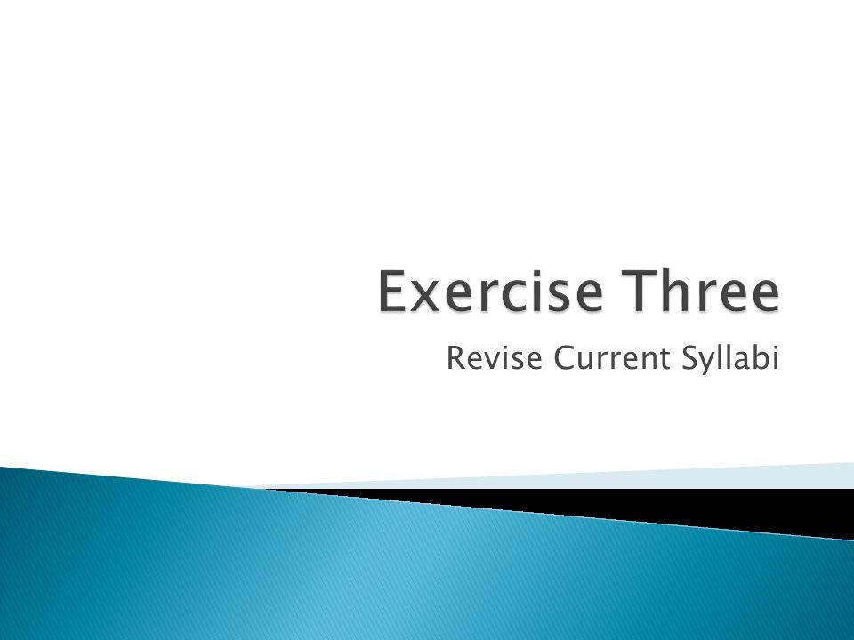 Revise Current Syllabi