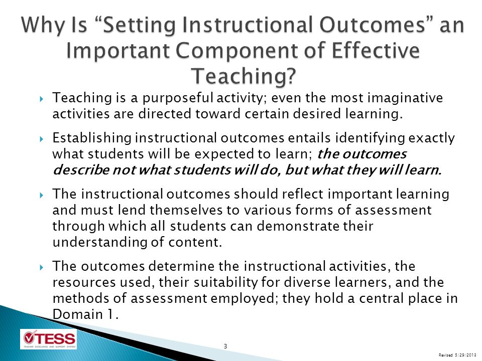  Learning outcomes may be of a number of different types: factual and procedural knowledge, conceptual understanding, thinking and reasoning skills, and collaborative and communication strategies.