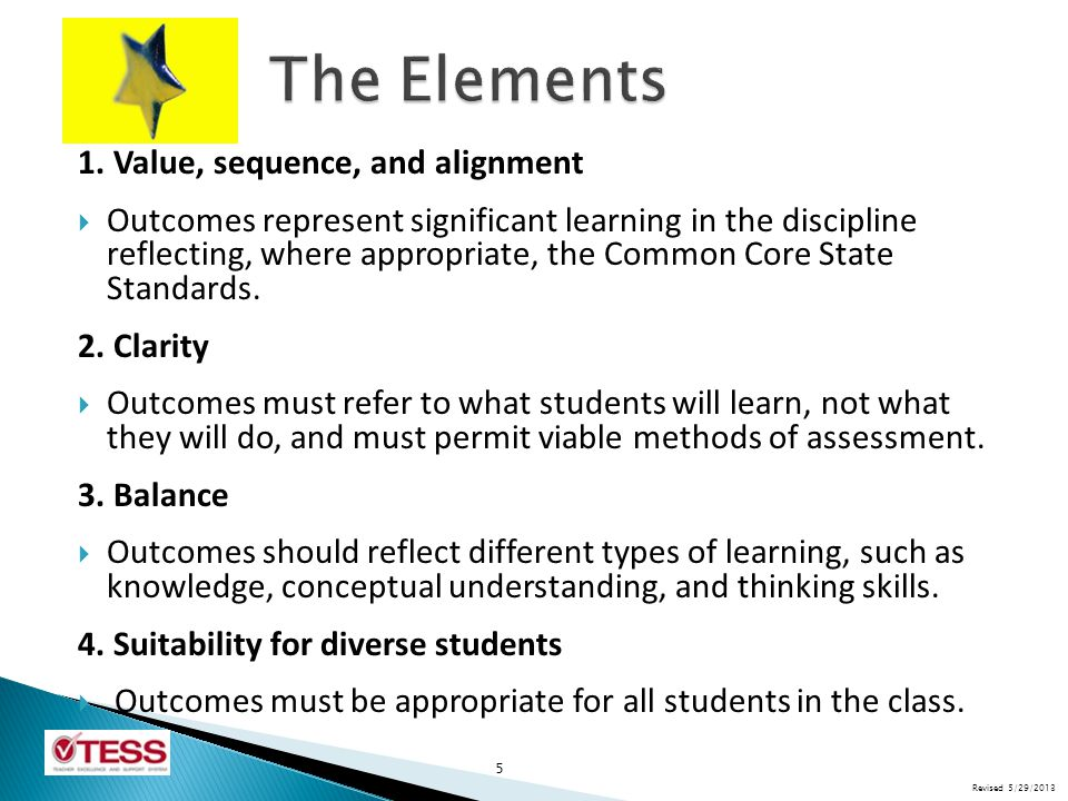  Outcomes represent a mixture of low expectations and rigor.