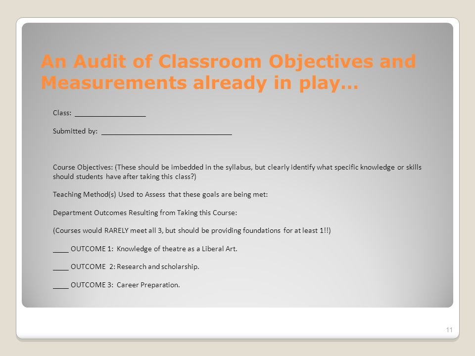 An Audit of Classroom Objectives and Measurements already in play… Class: __________________ Submitted by: _________________________________ Course Objectives: (These should be imbedded in the syllabus, but clearly identify what specific knowledge or skills should students have after taking this class ) Teaching Method(s) Used to Assess that these goals are being met: Department Outcomes Resulting from Taking this Course: (Courses would RARELY meet all 3, but should be providing foundations for at least 1!!) ____ OUTCOME 1: Knowledge of theatre as a Liberal Art.
