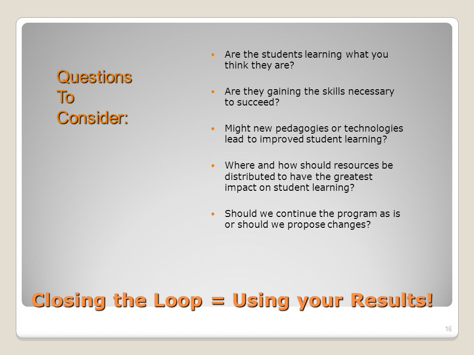 QuestionsToConsider: Closing the Loop = Using your Results.