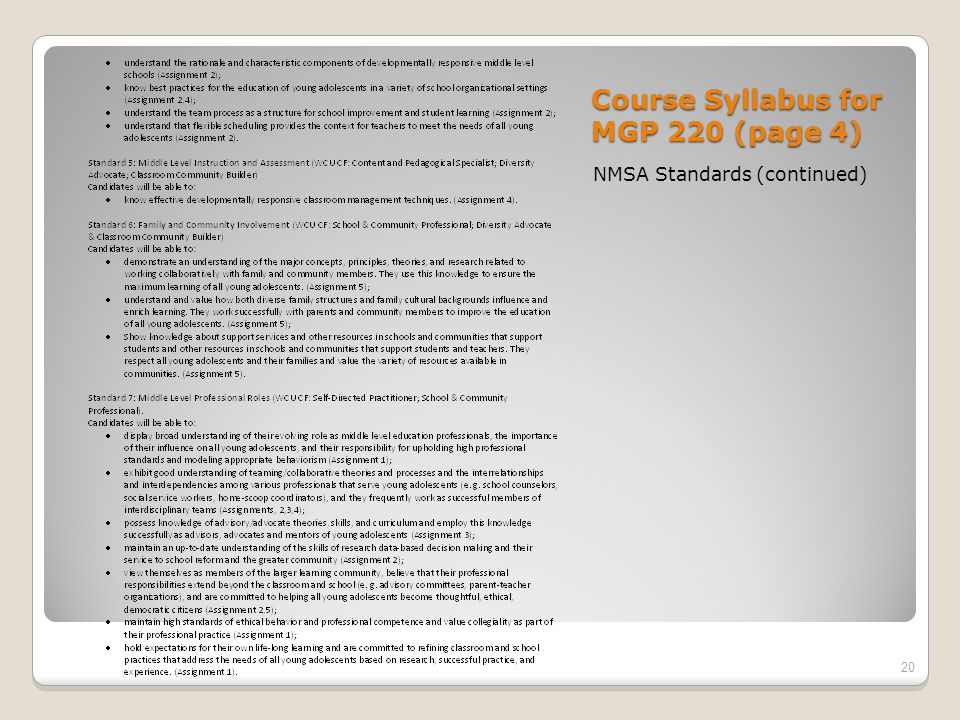 Course Syllabus for MGP 220 (page 4) NMSA Standards (continued) 20