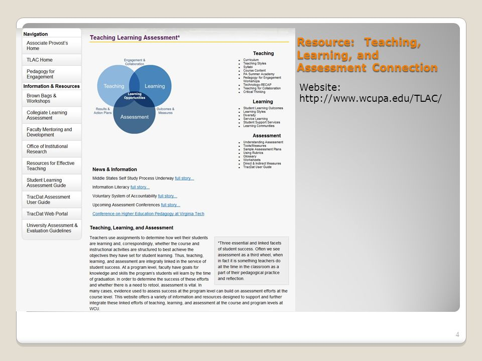 Resource: Teaching, Learning, and Assessment Connection Website: http://www.wcupa.edu/TLAC/ 4