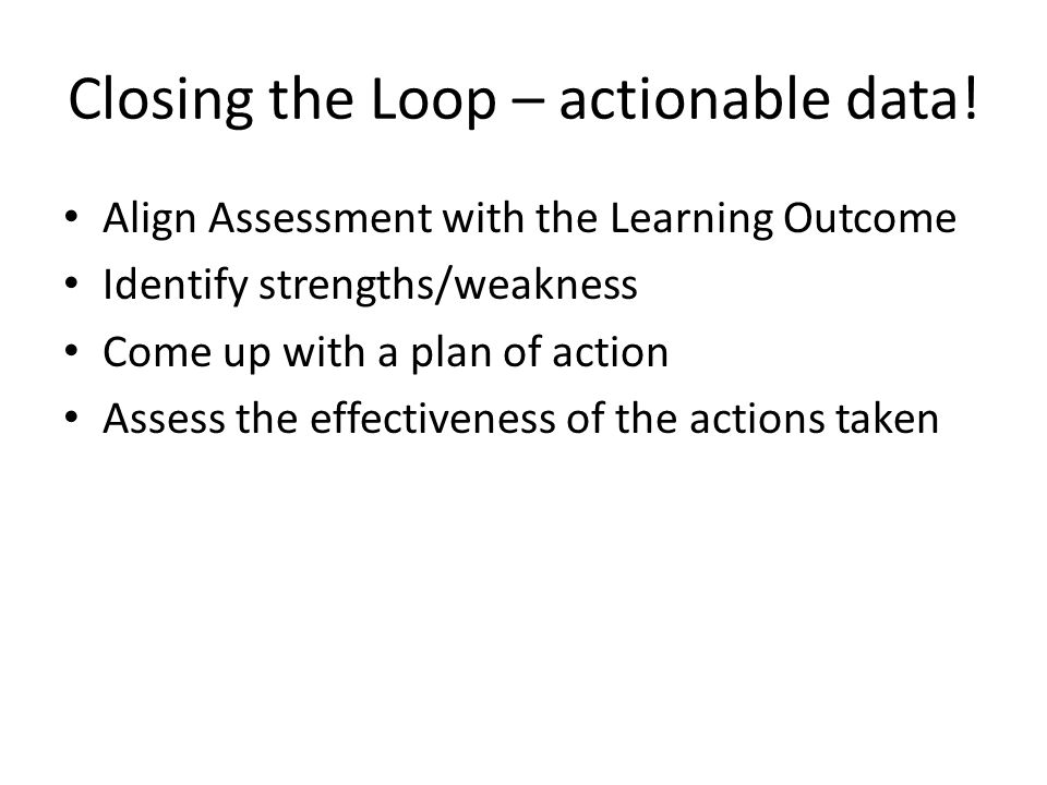 Closing the Loop – actionable data.