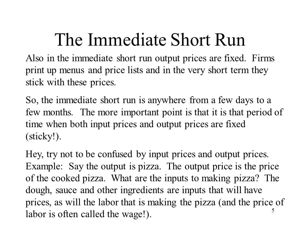 6 The Immediate Short Run Price level RGDP P1 AS ISR Note that the level of output in this immediate short term will depend on aggregate demand and the RGDP level that corresponds to full employment will only occur if demand is AD Full.