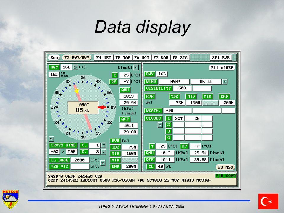 TURKEY AWOS TRAINING 1.0 / ALANYA 2005 Data display