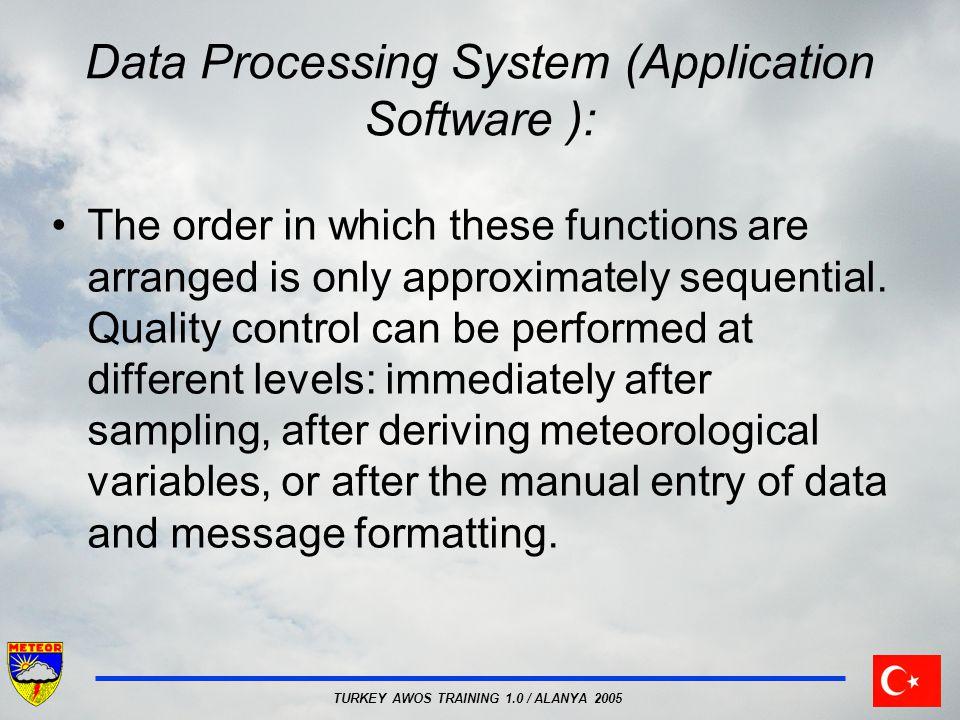 TURKEY AWOS TRAINING 1.0 / ALANYA 2005 Central network data processing