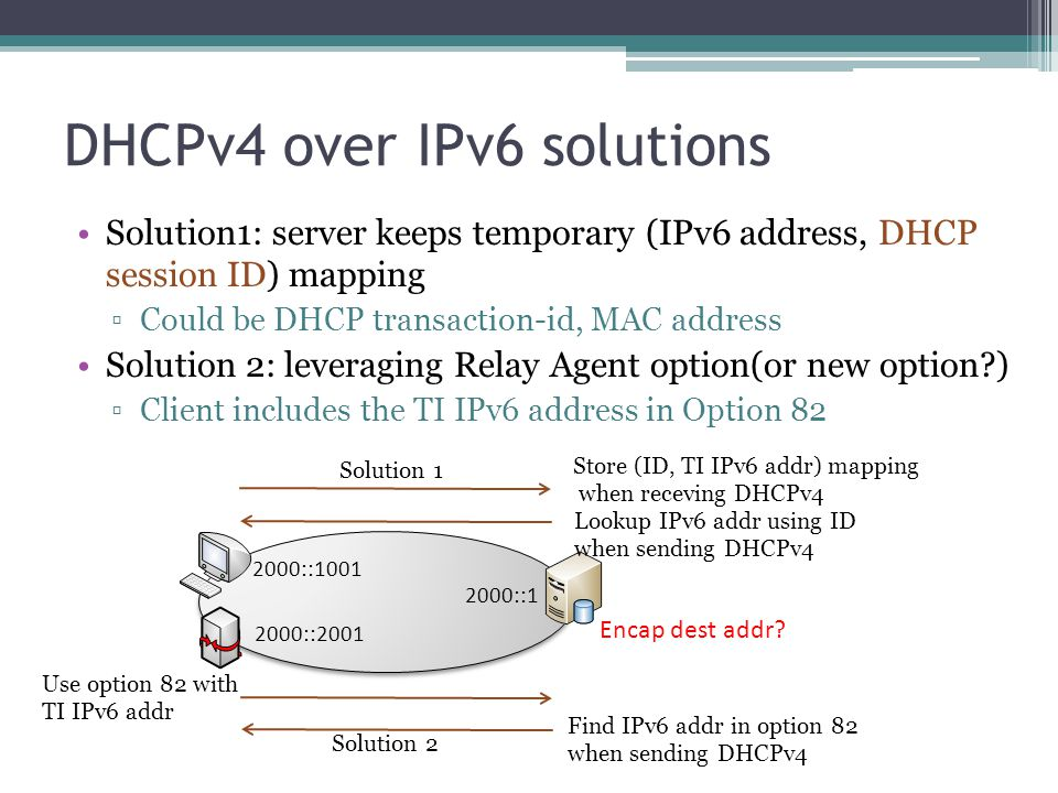 DHCPv4 over IPv6 solutions Solution1: server keeps temporary (IPv6 address, DHCP session ID) mapping ▫Could be DHCP transaction-id, MAC address Soluti