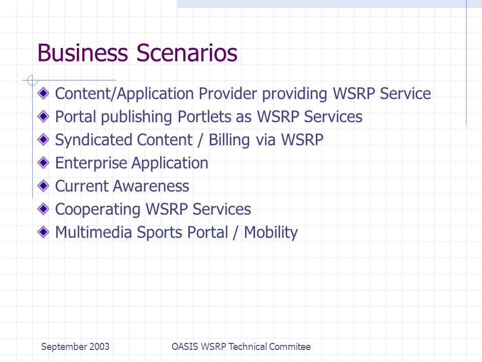 September 2003OASIS WSRP Technical Commitee Business Scenarios Content/Application Provider providing WSRP Service Portal publishing Portlets as WSRP Services Syndicated Content / Billing via WSRP Enterprise Application Current Awareness Cooperating WSRP Services Multimedia Sports Portal / Mobility
