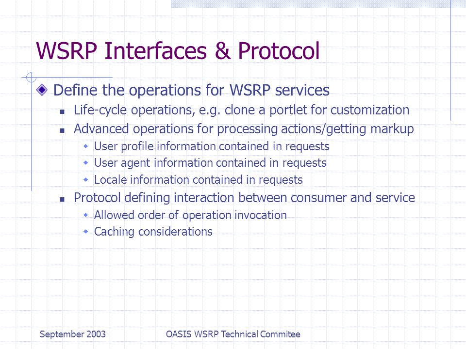 September 2003OASIS WSRP Technical Commitee WSRP Interfaces & Protocol Define the operations for WSRP services Life-cycle operations, e.g.