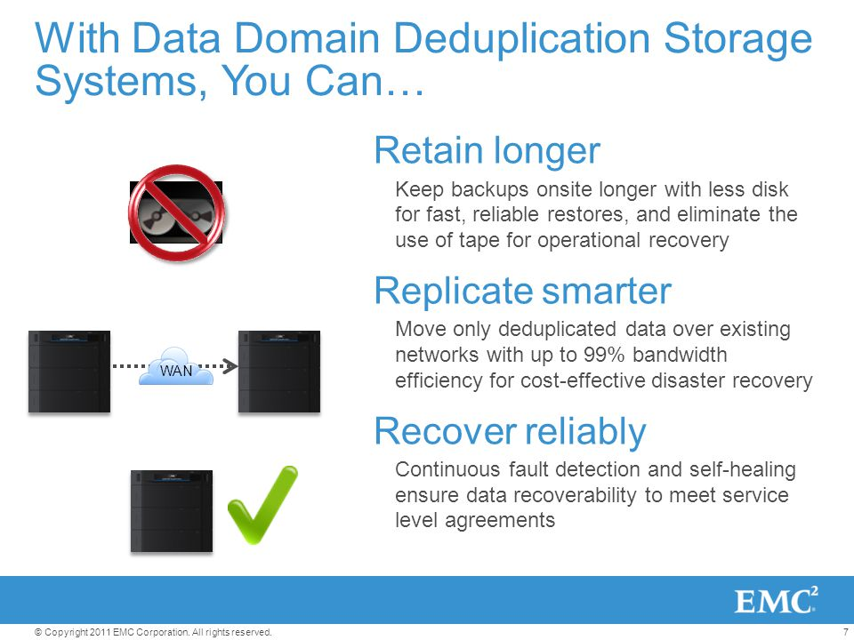 7© Copyright 2011 EMC Corporation. All rights reserved. With Data Domain Deduplication Storage Systems, You Can… Retain longer Keep backups onsite lon