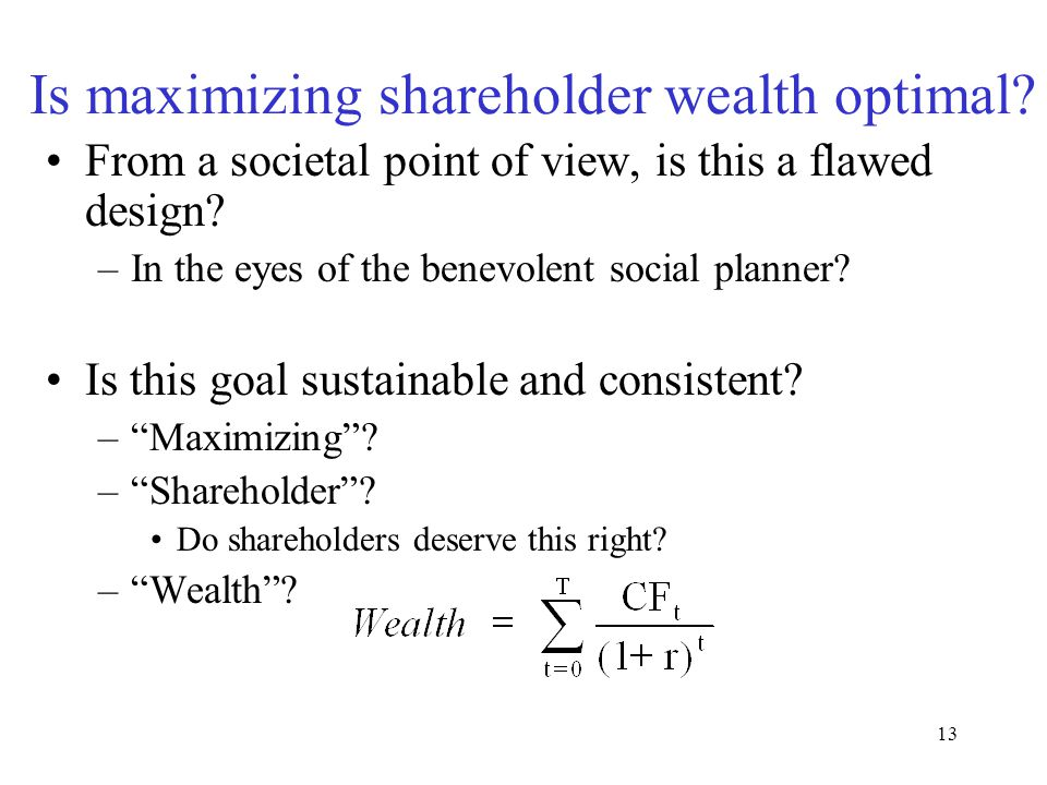 12 Is maximizing shareholder wealth optimal. From a behavioral viewpoint is it a flawed design.