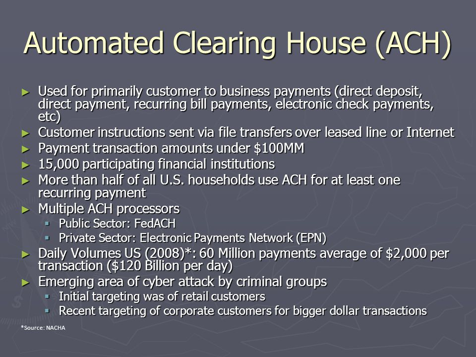 Automated Clearing House (ACH) ► Used for primarily customer to business payments (direct deposit, direct payment, recurring bill payments, electronic check payments, etc) ► Customer instructions sent via file transfers over leased line or Internet ► Payment transaction amounts under $100MM ► 15,000 participating financial institutions ► More than half of all U.S.