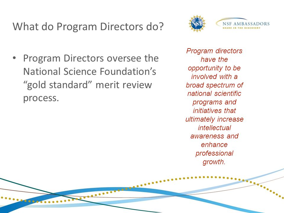 Program Directors oversee the National Science Foundation's gold standard merit review process.
