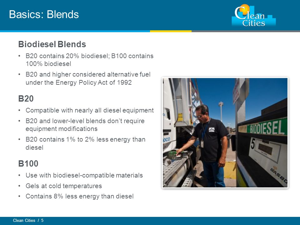 Clean Cities / 5 Basics: Blends Biodiesel Blends B20 contains 20% biodiesel; B100 contains 100% biodiesel B20 and higher considered alternative fuel u