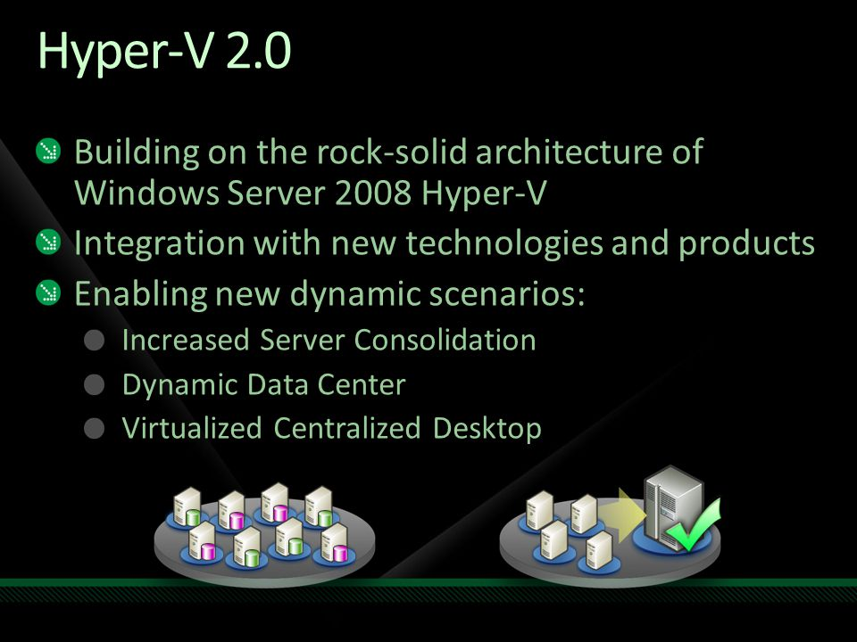 Scalability Enhancements Run the largest workloads and fully utilize multi-core servers with a single WSS08R2 server instance Get standard workloads to function with fewer locks and greater parallelism Support more than 64 processor cores for a single OS instance Reduced overhead for Hyper-V, and improved storage performance Componentization - Improvements to Server Core Support more roles and broaden current role support (e.g., the addition of ASP.net within IIS) PowerShell scripting in Server Core.NET framework on Server core, which in turn should drive app support