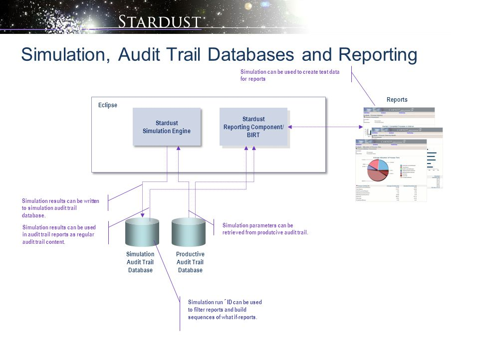 Infinity Process Platform Reporting Component Infinity Process Platform Simulation Engine Simulation, Audit Trail Databases and Reporting Stardust Sim