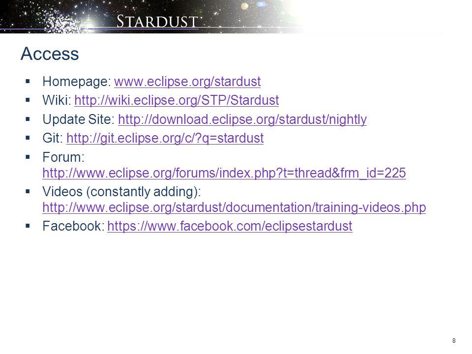 8  Homepage: www.eclipse.org/stardustwww.eclipse.org/stardust  Wiki: http://wiki.eclipse.org/STP/Stardusthttp://wiki.eclipse.org/STP/Stardust  Update Site: http://download.eclipse.org/stardust/nightlyhttp://download.eclipse.org/stardust/nightly  Git: http://git.eclipse.org/c/?q=stardusthttp://git.eclipse.org/c/?q=stardust  Forum: http://www.eclipse.org/forums/index.php?t=thread&frm_id=225 http://www.eclipse.org/forums/index.php?t=thread&frm_id=225  Videos (constantly adding): http://www.eclipse.org/stardust/documentation/training-videos.php http://www.eclipse.org/stardust/documentation/training-videos.php  Facebook: https://www.facebook.com/eclipsestardusthttps://www.facebook.com/eclipsestardust Access