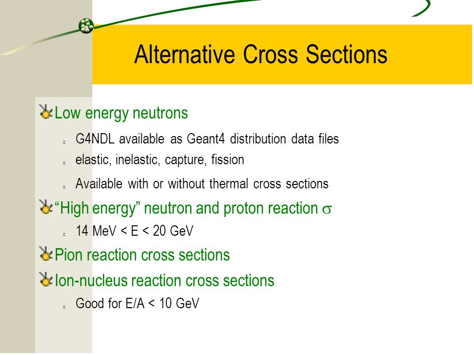 15 Alternative Cross Sections Low energy neutrons G4NDL available as Geant4 distribution data files elastic, inelastic, capture, fission Available wit
