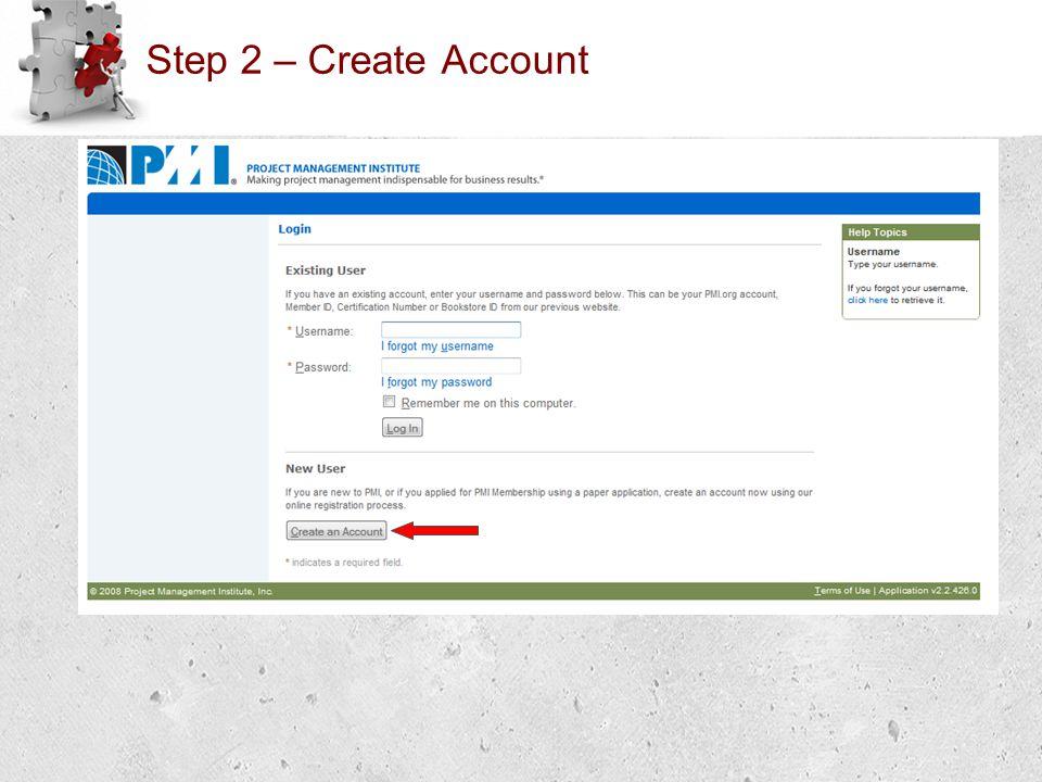 Step 2 – Create Account