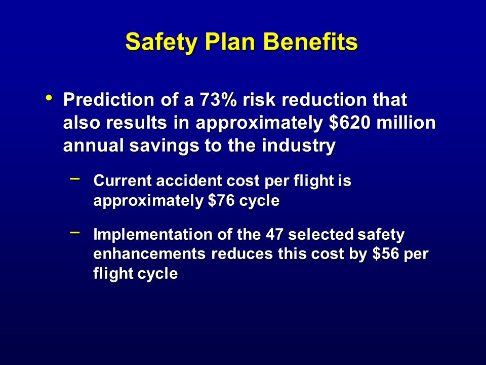 Safety Plan Benefits Prediction of a 73% risk reduction that also results in approximately $620 million annual savings to the industry Prediction of a 73% risk reduction that also results in approximately $620 million annual savings to the industry − Current accident cost per flight is approximately $76 cycle − Implementation of the 47 selected safety enhancements reduces this cost by $56 per flight cycle