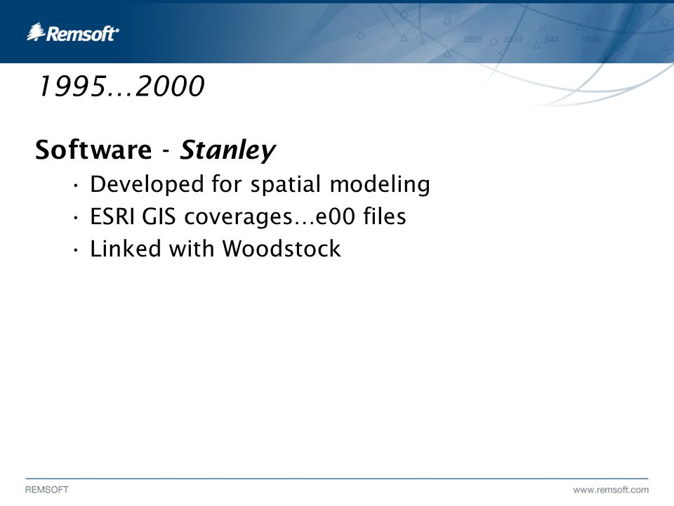 1995…2000 Software - Stanley Developed for spatial modeling ESRI GIS coverages…e00 files Linked with Woodstock