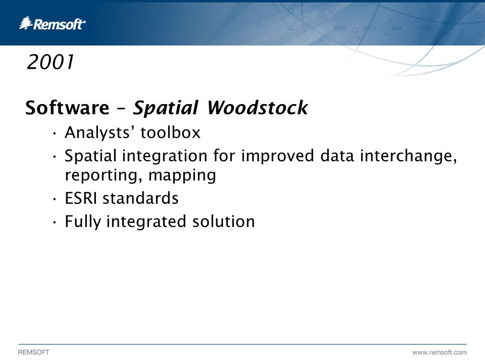 2001 Software – Spatial Woodstock Analysts' toolbox Spatial integration for improved data interchange, reporting, mapping ESRI standards Fully integrated solution