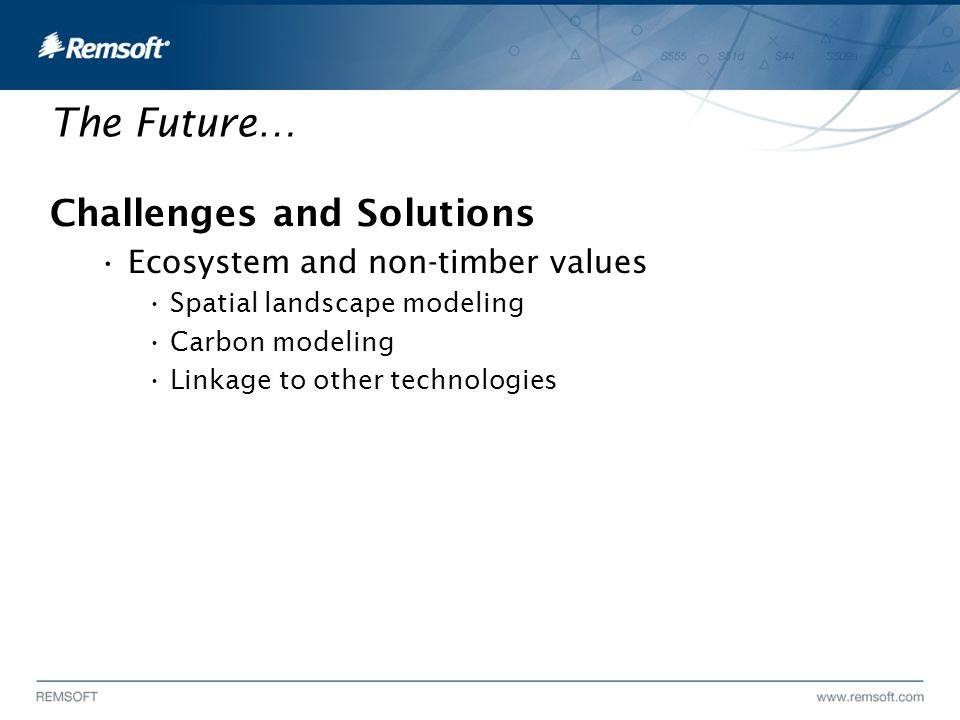The Future… Challenges and Solutions Ecosystem and non-timber values Spatial landscape modeling Carbon modeling Linkage to other technologies