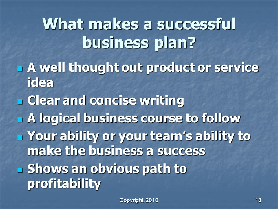 Copyright, 2010 18 What makes a successful business plan.
