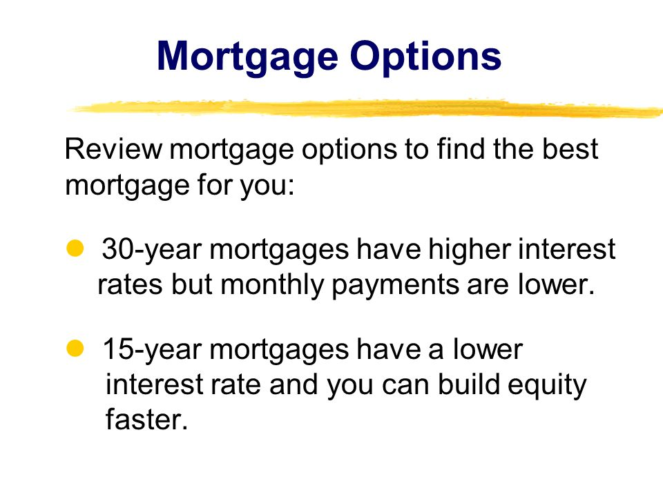 Mortgage Options Review mortgage options to find the best mortgage for you: 30-year mortgages have higher interest rates but monthly payments are lower.