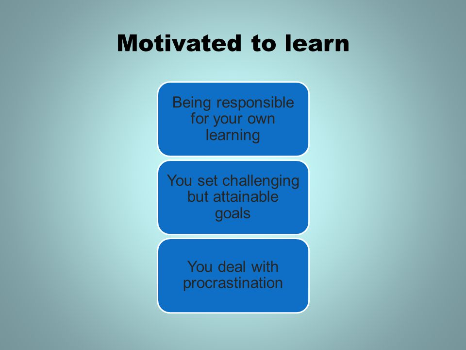 Motivated to learn Being responsible for your own learning You set challenging but attainable goals You deal with procrastination