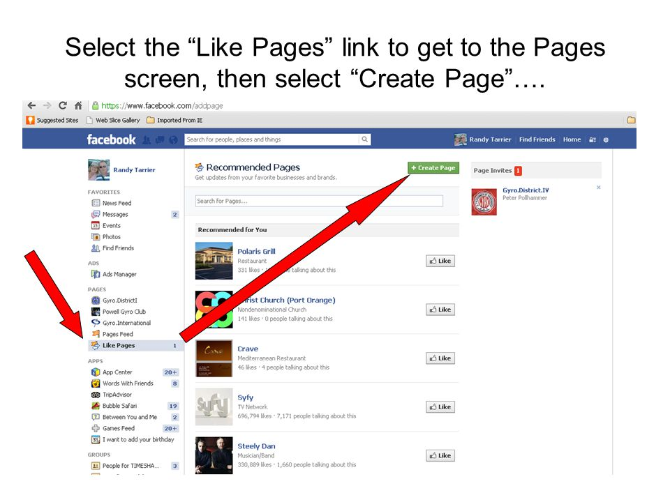 """Select the """"Like Pages"""" link to get to the Pages screen, then select """"Create Page""""…."""