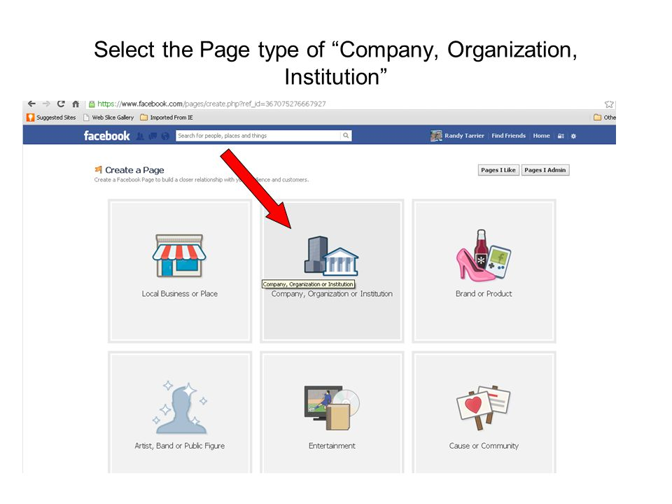 """Select the Page type of """"Company, Organization, Institution"""""""