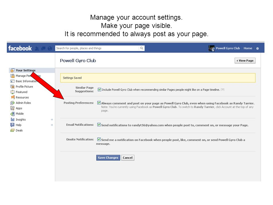 Manage your account settings. Make your page visible.