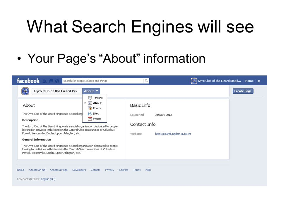 """What Search Engines will see Your Page's """"About"""" information"""