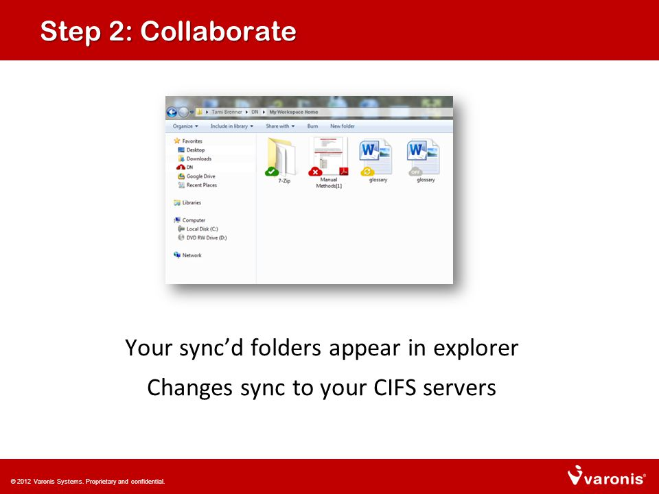 Step 2: Collaborate Your sync'd folders appear in explorer Changes sync to your CIFS servers © 2012 Varonis Systems.