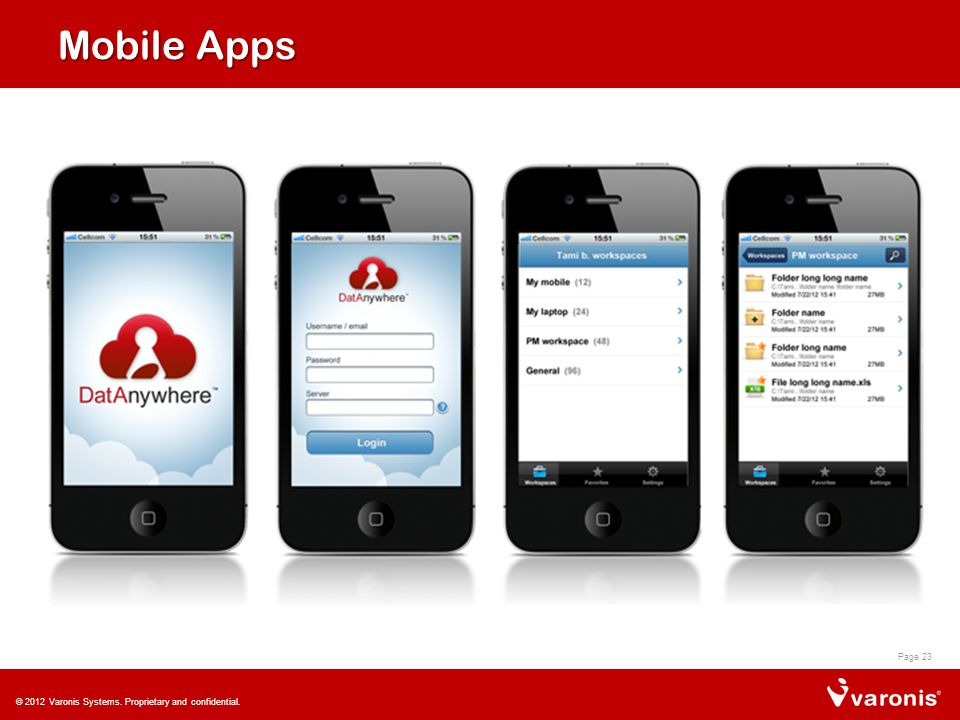 Mobile Apps Page 23 © 2012 Varonis Systems. Proprietary and confidential.