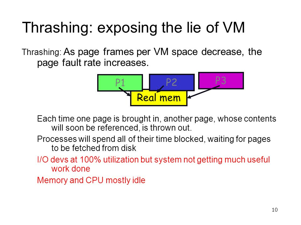 10 Thrashing: exposing the lie of VM Thrashing: As page frames per VM space decrease, the page fault rate increases. Each time one page is brought in,