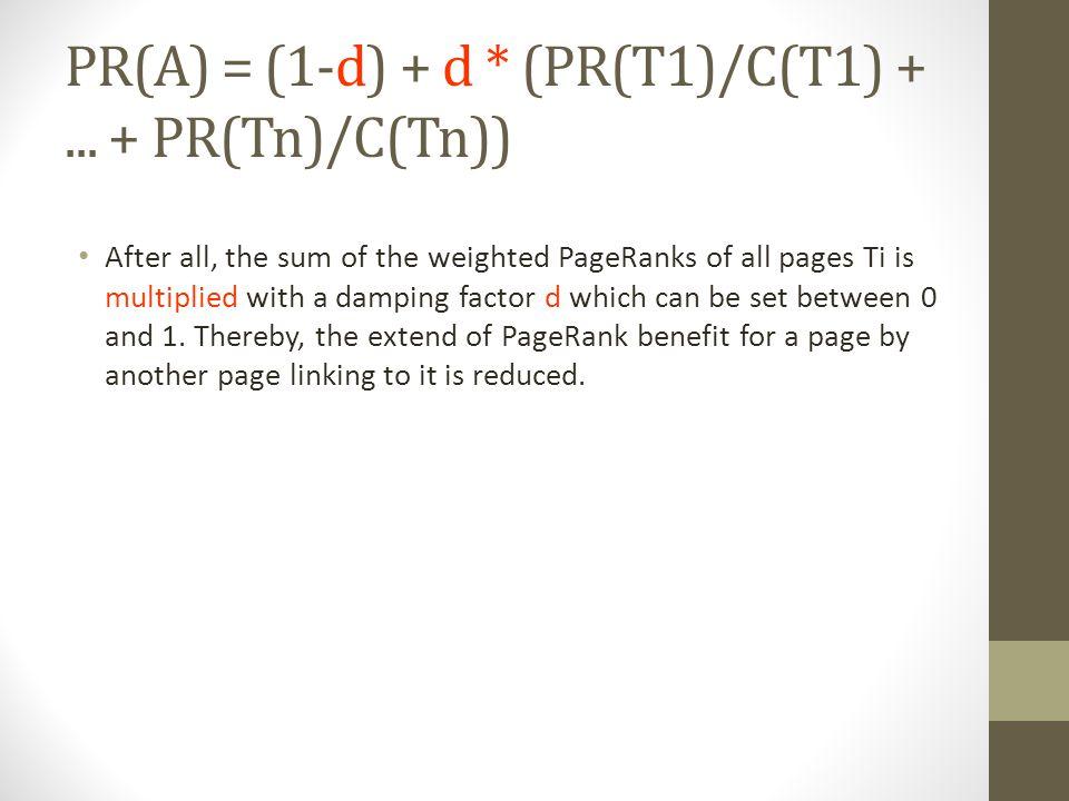 PR(A) = (1-d) + d * (PR(T1)/C(T1) +...