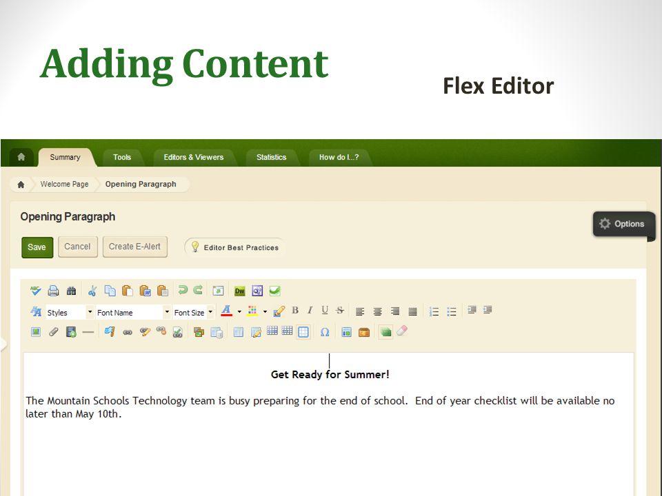 Adding Content Flex Editor