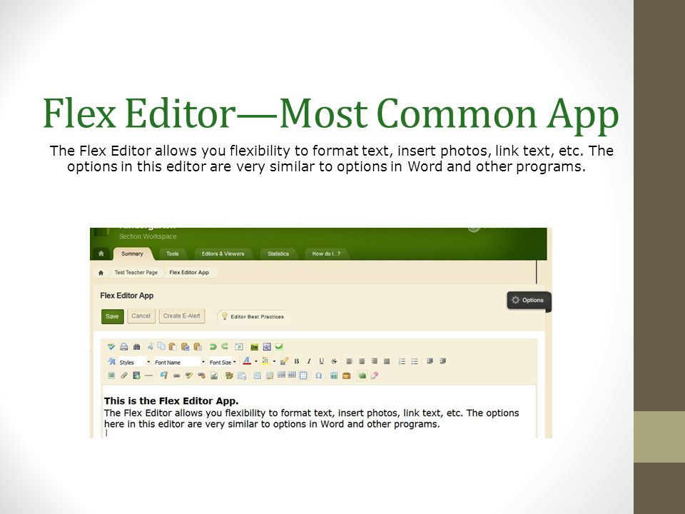Flex Editor—Most Common App The Flex Editor allows you flexibility to format text, insert photos, link text, etc. The options in this editor are very